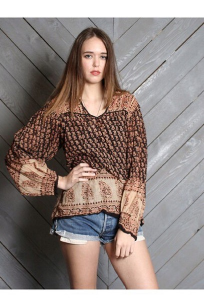 blouse tunic blouse gypsy blouse beige khaki indian cotton indian gauze Californication tunic top hippie top hippie blouse gypsy boho festival top