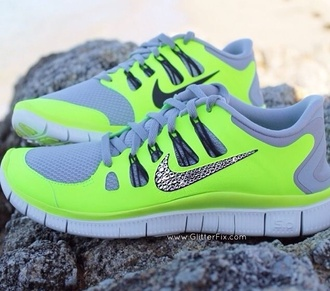 neon nike shoes sparkles