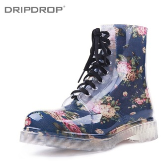 shoes rainboot combat boots brown sweater combat boots fashion floral shoes flower boots vintage boots girly