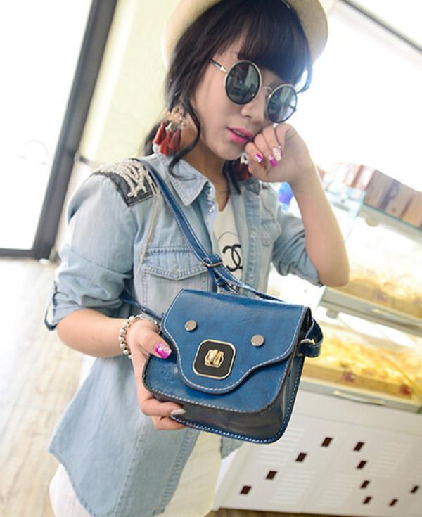 bag bag fashion blue jacket demin jeans denim jacket sunglasses summer nail polish nails vintage vogue