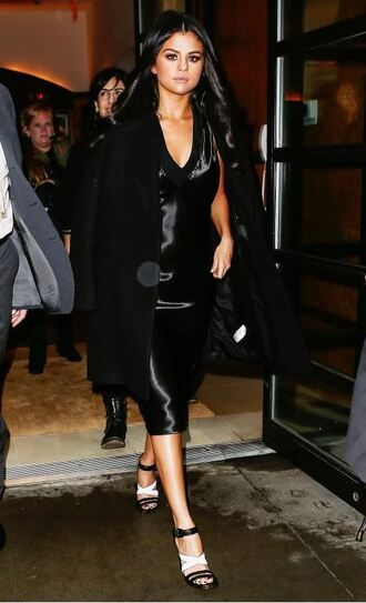 coat black dress all black everything selena gomez sandals shoes