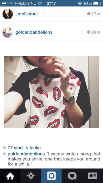 shirt red lips sweater lips acacia brinley