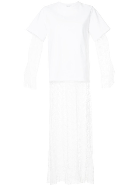 GOEN.J dress shirt dress t-shirt dress women layered lace white cotton