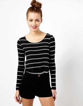 New Look | New Look Double Stripe Crop Top at ASOS
