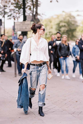 vanessa jackman blogger blouse top jeans white blouse boyfriend jeans denim jacket ripped jeans belt