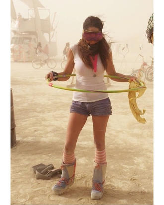 top white top shorts denim shorts blue shorts boots socks striped socks burning man clothing burning man music festival festival