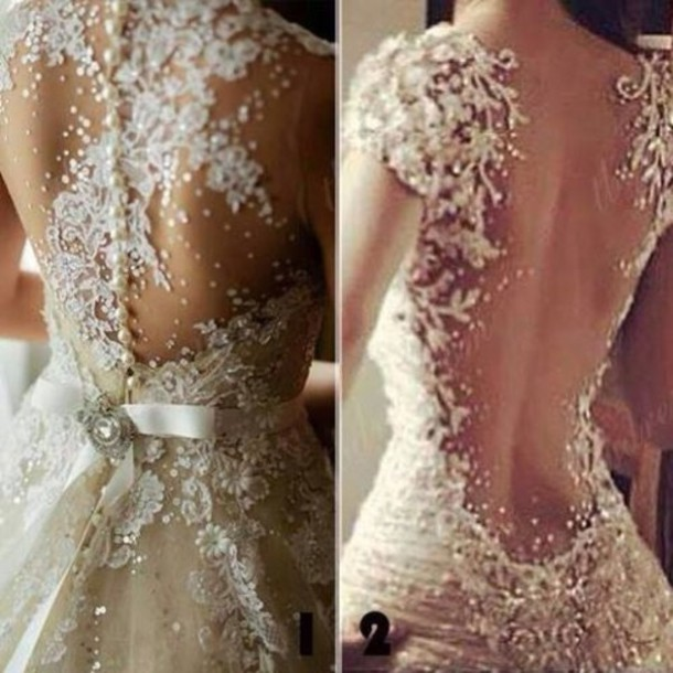 Dress white open back prom dress clothes wedding for White sparkly wedding dress