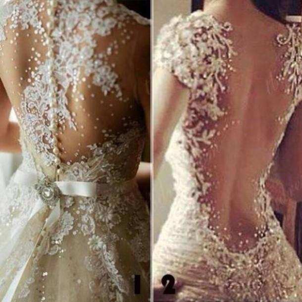 Dress: white, open back, prom dress, wedding, wedding gown ...