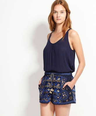 shorts mirror pom poms blue embroidered beach