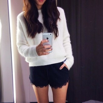 sweater shorts black shorts lace shorts black tumblr shoes lace details tumblr girl cute outfit