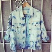 jacket,jeans,acid wash,studs,denim
