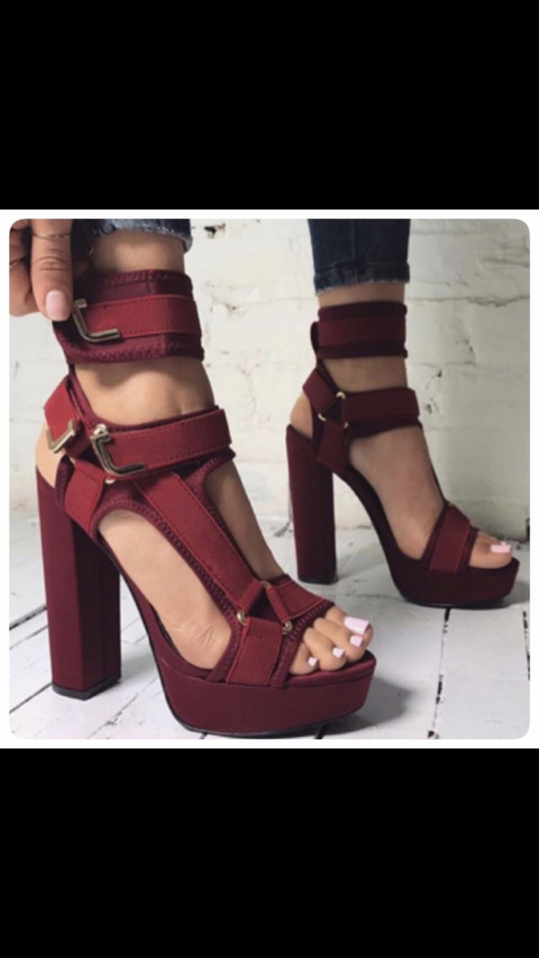 44e3b615513 Band Mate Cut-Out Caged Platforms OLIVE NUDE WINE RED BLACK ORANGE ...
