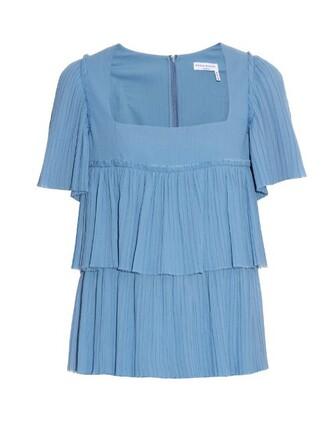 top pleated cotton light blue light blue