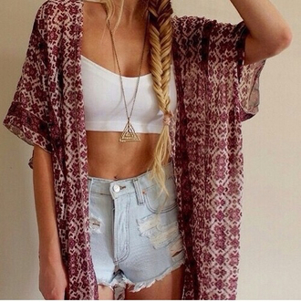 cardigan beauty kimono sweater high waisted high waisted shorts high waisted jeans dope indie grunge boho tumbr tumblr instagram hipster bralette ootd outfit fashion jewels shorts