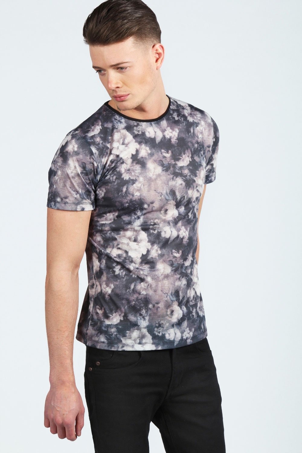 Black and white floral t shirt