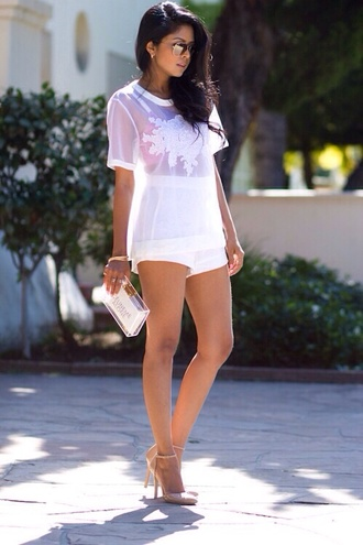 t-shirt mesh clear white lace top quote on it sunglasses shoes bag purse shorts bodysuit lace dress clear purse tank top starbucks coffee logo blouse white blouse