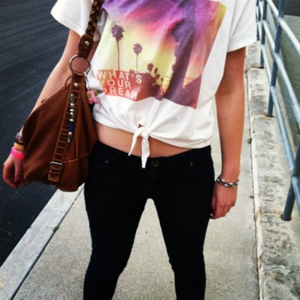 shirt t-shirt pants bag tropical quote on it colorful jeans