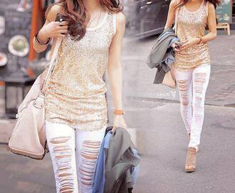 shoes nude high heels platform shoes wedges open toes peep toe glitter white jeans pants gold blouse shirt