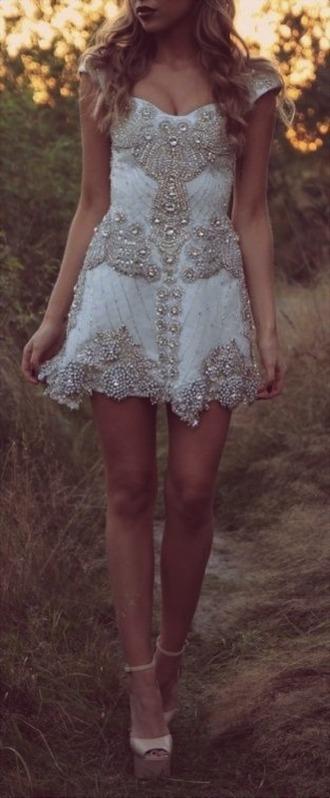 dress jewled prom white silver jewelry white dress embellished dress embellished beautiful promdress