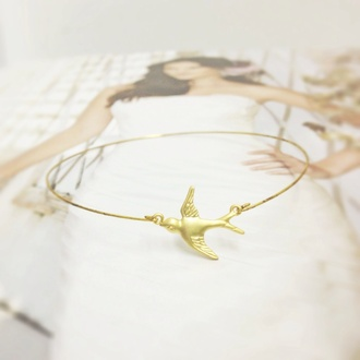 bangle jewels bracelets gold girly sweet sweetheart cute kawaii dainty simple dainty minimalist jewelry minimalist frantic jewelry bird bracelet birds wrist band swallow gold braclet