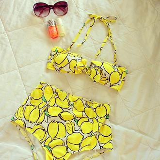swimwear lemon high waisted bikini patterned swimwear beach