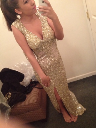 dress sequin dress gold sequins prom dress long prom dress