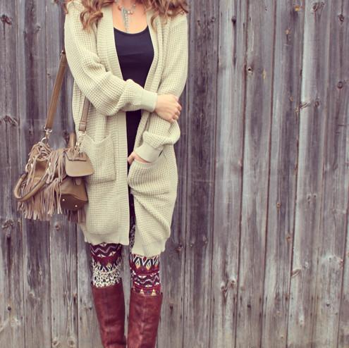 Long waffle knit drape style cardigan – sirenlondon