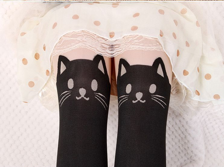 Lady Sexy Cat Tail Gipsy Mock Knee High Hosiery Pantyhose Tattoo Legging Tights | eBay