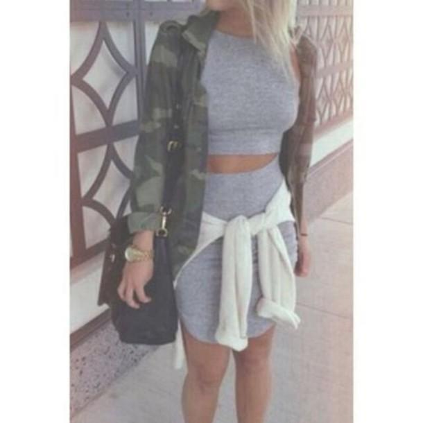 dress grey matching skirt and top crop top and pencil