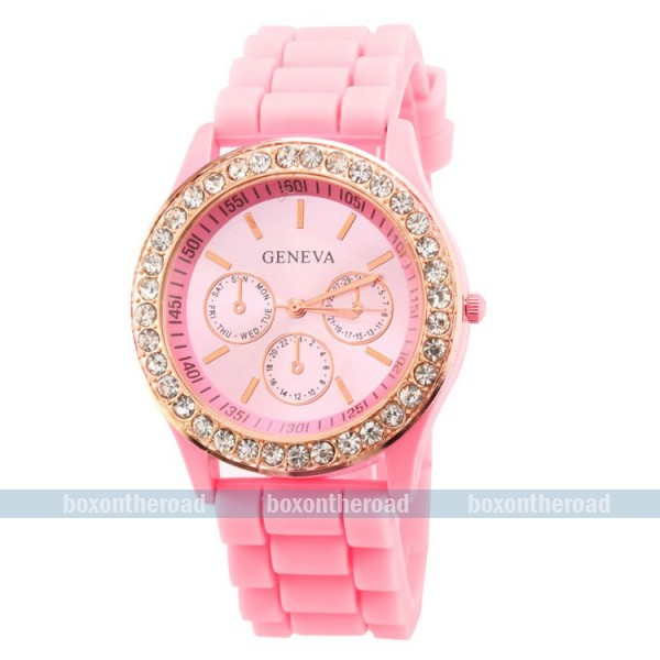 Unisex Geneva Silicone Jelly Gel Rubber Quartz Analog Sport Wrist Watch Pink | eBay