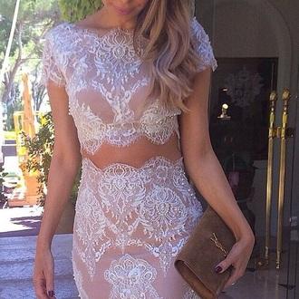 dress lace dress nude dress graduation dress two piece dress set