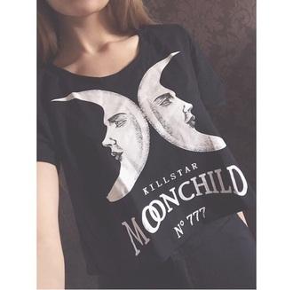t-shirt moon top grunge t-shirt black t-shirt