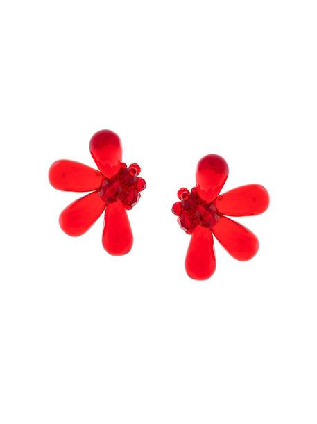 Simone Rocha oversized women earrings floral red jewels