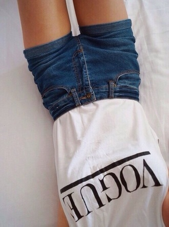 shorts shirt top vogue shirt white t-shirt summer top black letters vogue t-shirt