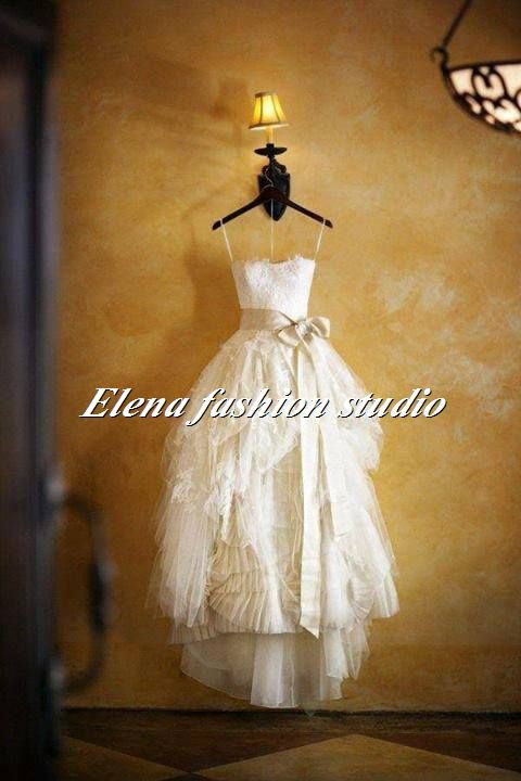 Strapless lace wedding dress sweet heart