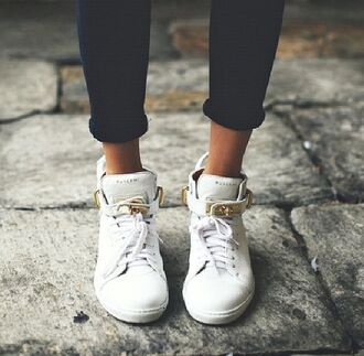 white shoes gold hightops high top sneakers