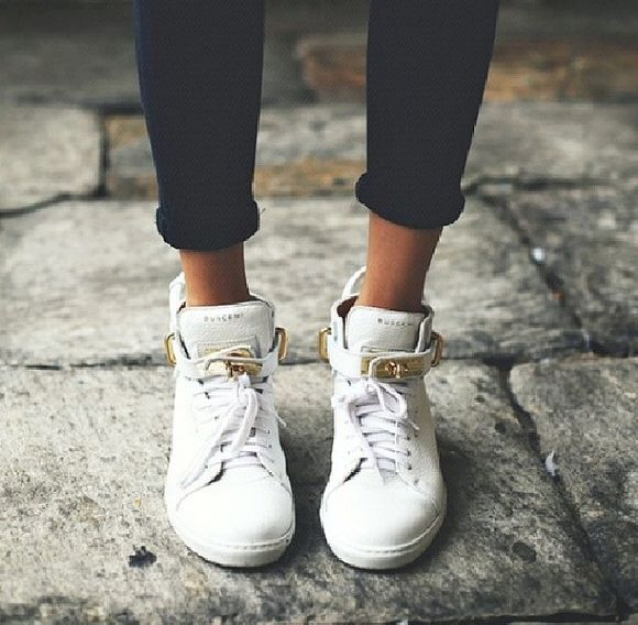 shoes hightops high top sneaker white gold