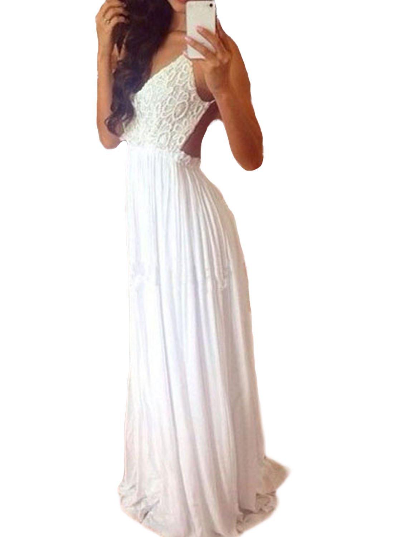 Vakind® women sexy lace stitching long chiffon backless strap evening floor dress at amazon women's clothing store: