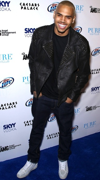 jacket leather jacket studs chris brown
