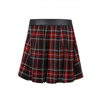 LOVARNI Tartan Print PVC Patch Pleated Skater Skirt - Skirts from Lovarni UK