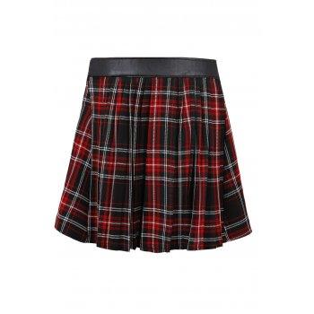 Lovarni tartan print pvc patch pleated skater skirt