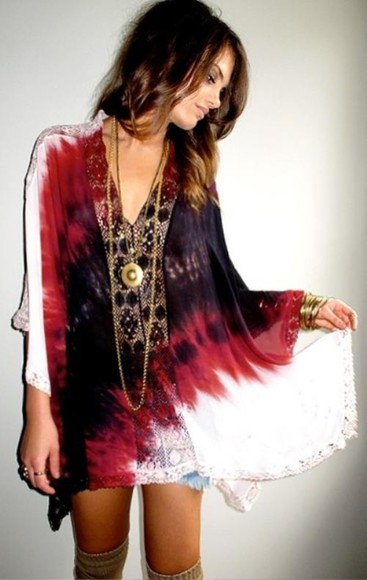 boho tie dye dress boho chic boho dress