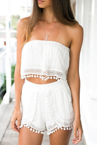 86354c92d05a romper zaful strapless cute lace crop tops summer boho casual boho chic  hippie preppy hipster girly