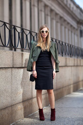 dress,work outfits,office outfits,fall outfits,midi dress,black dress,bodycon dress,jacket,army green jacket,cropped jacket,boots,high heels boots,burgundy boots,sunglasses,bag,black bag,shoulder bag,winter work outfit