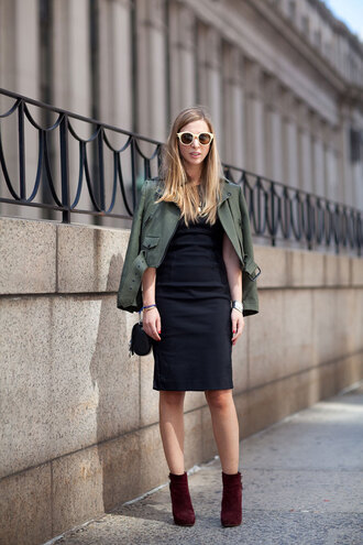 dress work outfits office outfits fall outfits midi dress black dress bodycon dress jacket army green jacket cropped jacket boots high heels boots burgundy boots sunglasses bag black bag shoulder bag winter work outfit