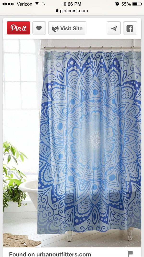 Home Accessory Blue Mandala Shower Curtain Shower Curtain Pattern Hipster  Bathroom