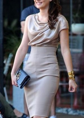 dress beige blair waldorf leighton meester gossip girl