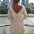 Off-white Party Dress - Cream Long Sleeve Chiffon Dress | UsTrendy