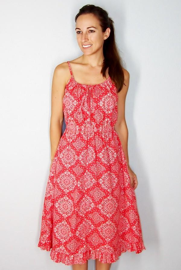 Vintage Red Paisley Sun Dress red bandana dress 1960s 70s Boho ...