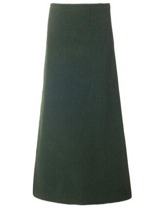skirt long skirt long wool green